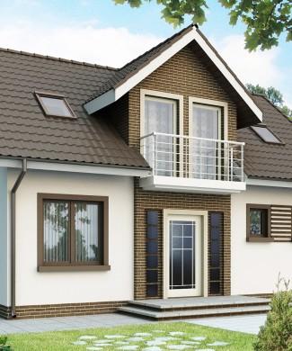 Проект двухэтажного дома 10 на 10 с балконом Е-166 из пеноблоков ... | 390x325