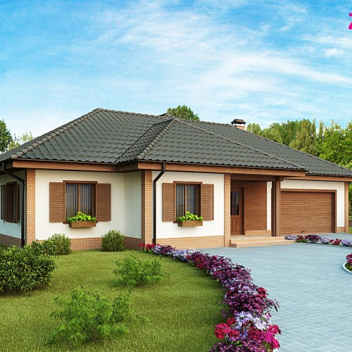 Готовый проект одноэтажного дома - Z17