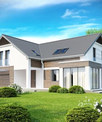 Проект частного дома с мансардой и эркером Беларусь