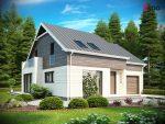 проект загородного дома из газосиликатных блоков с мансардой и гаражом в Беларуси