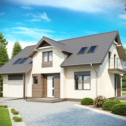 проект частного кирпичного дома с мансардой и гаражом в Беларуси