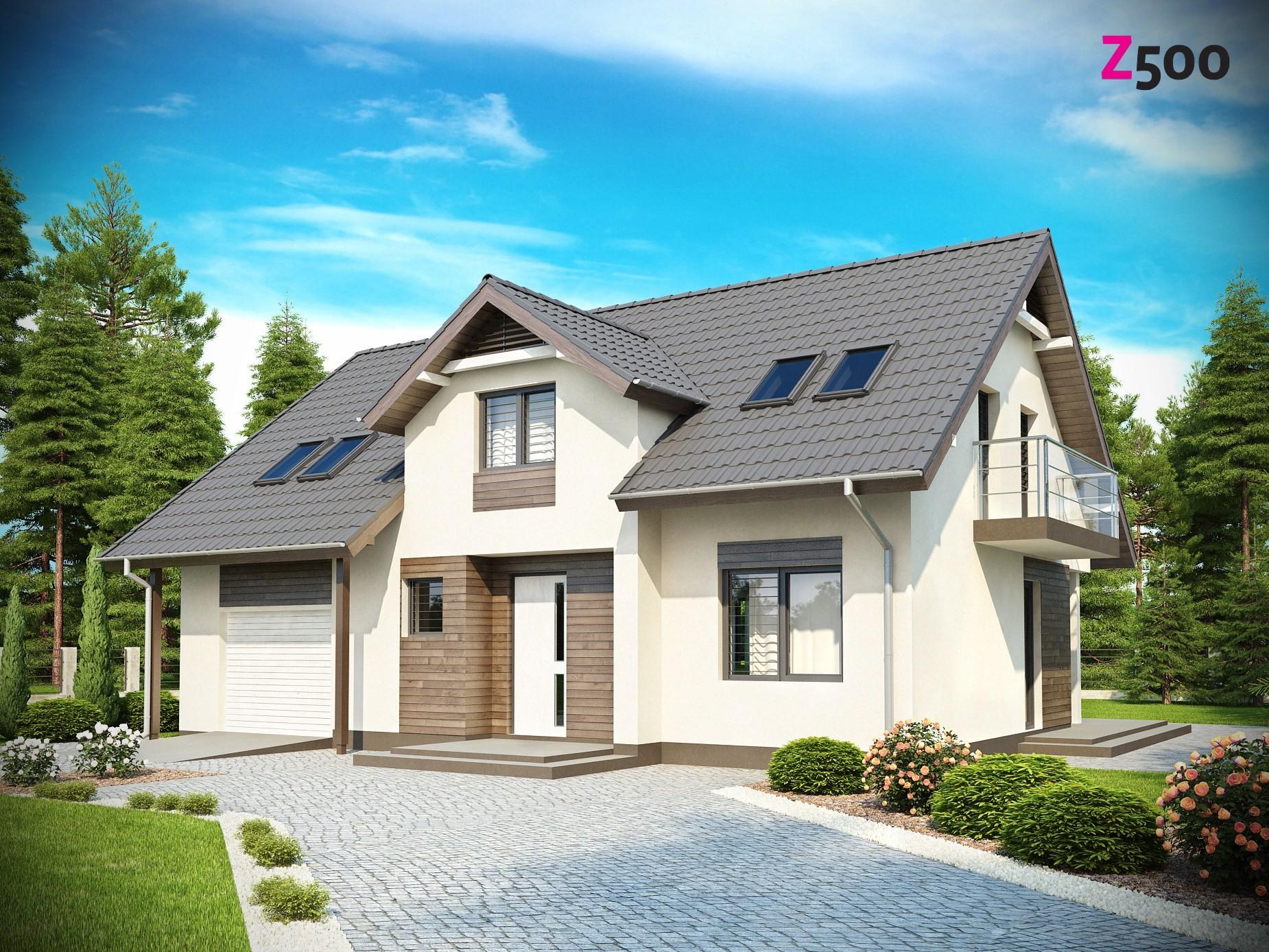 Z172 - готовый проект кирпичного дома с мансардой и гаражом.