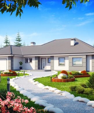 Готовый проект частного одноэтажного дома с гаражом Минск