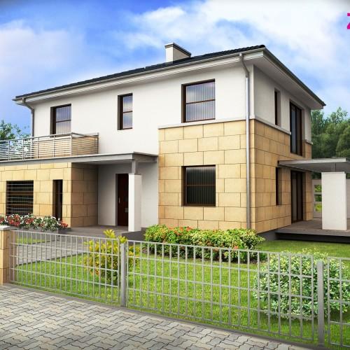 Готовый проект двухэтажного дома из газосиликата с гаражом в Беларуси