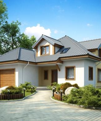 Готовый проект кирпичного дома с гаражом в Беларуси