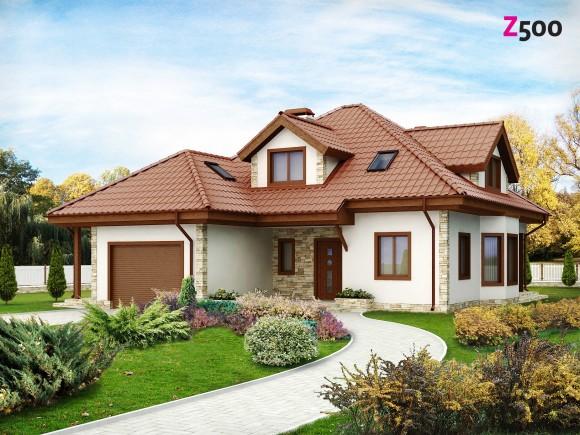 Готовый проект частного дома с мансардой и гаражом Минск