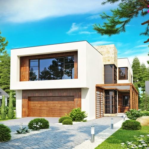 Проект дома в стиле модерн с гаражом на 2 машины