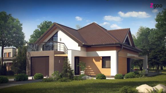 готовый проект частного мансардного дома с гаражом в Беларуси