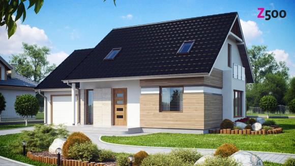 Проект дома с гаражом и эркером