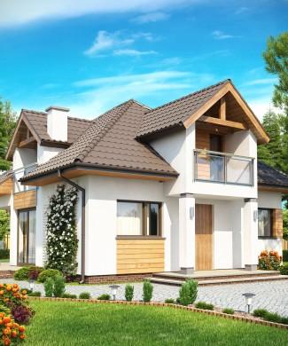 Готовый проект дома с мансардой и многоскатной крышей Беларусь