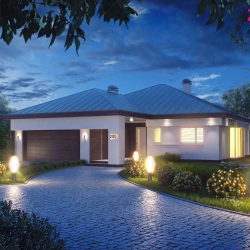 Проект типового одноэтажного дома с гаражом Беларусь