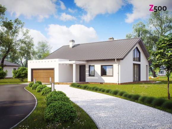 Готовый проект одноэтажного дома с гаражом на две машины Беларусь