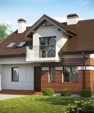 Проект мансардного дома и тремя балконами Минск