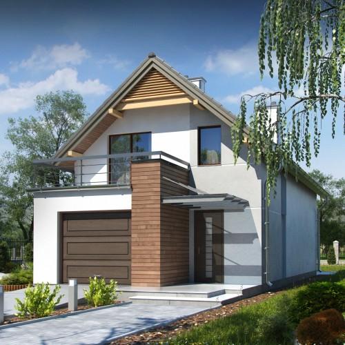 Проект дома с гаражом для узкого участка Минск