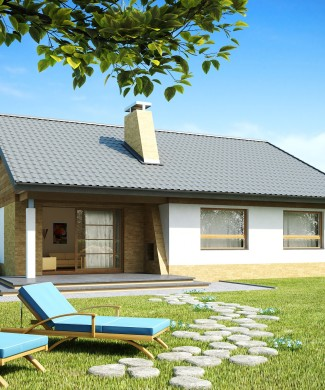 Проект частного одноэтажного дома для узкого участка