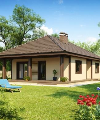 Проект одноэтажного дома с деревянной террасой