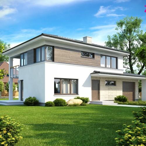 Типовой проект частного двухэтажного коттеджа с гаражом в Беларуси