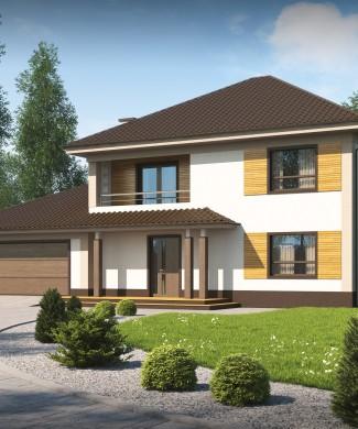 Готовый проект частного двухэтажного дома с гаражом Минск