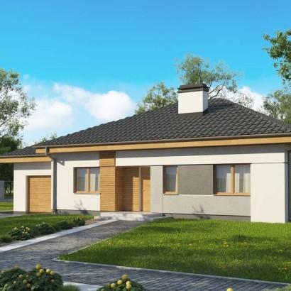 проект современного одноэтажного дома с гаражом