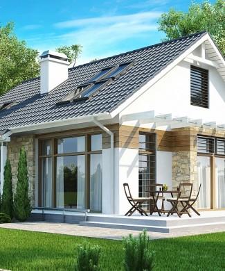 Проект мансардного дома с террасой Z113 в Минске