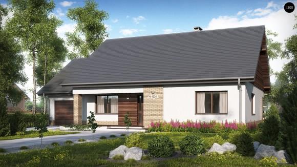 Готовый проект частного одноэтажного дома с гаражом Z131