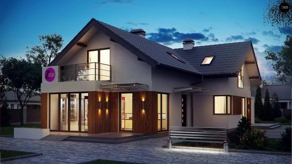 Проект частного дома с мансардным этажом и террасой