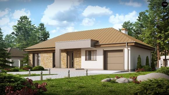 Проект современного одноэтажного частного дома с гаражом