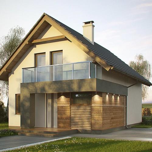 Проект дома Z500 с мансардой и балконом