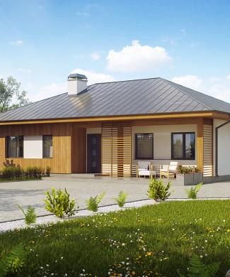 Готовый проект одноэтажного дома с террасой в Минске