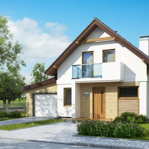 Проект дома с террасой и гаражом Z177