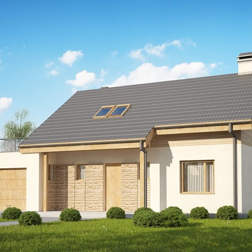 Проект частного дома с балконом и гаражом