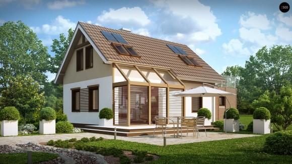 Готовый проект мансардного дома с гаражом Z220