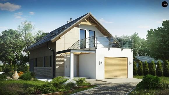 проект частного мансардного дома с гаражом