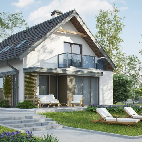 Проект дома с мансардой для узкого участка Z302