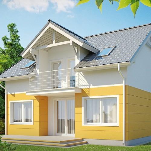 Проект уютного загородного дома с балконом Z65