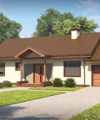 Проект дома с гаражом и деревянной отделкой Беларусь