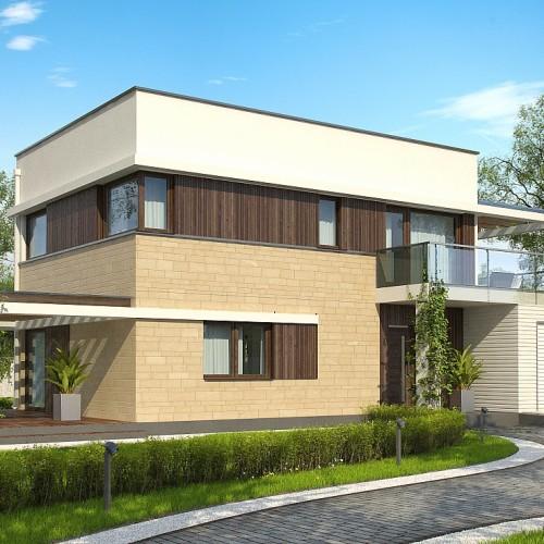 проект двухэтажного дома с четырьмя спальнями и гаражом Минск