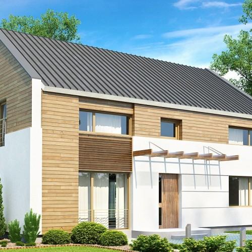 Двухэтажный дом с двускатной крышей в Минске