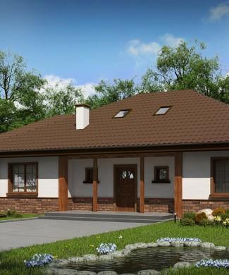 Проект одноэтажного дома из блоков с гаражом Z10 D sdu GL