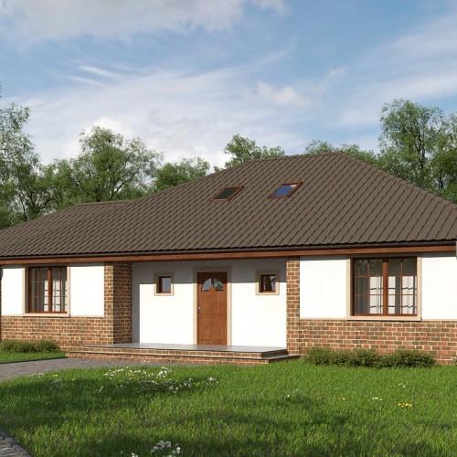 проект частного одноэтажного дома из блоков с гаражом на две машины Z10 GL2 stu