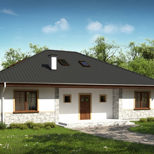 Проект частного одноэтажного дома из газобетонных блоков Z10 stu 30