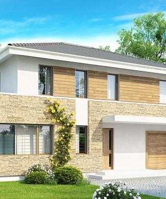 Готовый проект двухэтажного загородного дома с гаражом Zx29 в Минске