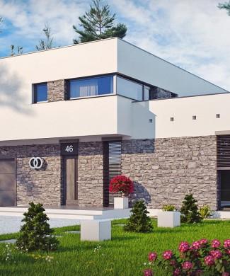 Проект современного двухэтажного дома в стиле хай-тек в Минске Zx46