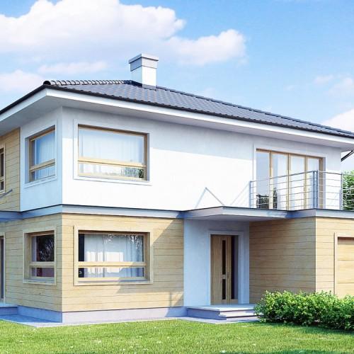 проект двухэтажного загородного коттеджа с длинным гаражом Минск
