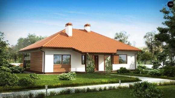 Проект одноэтажного дома из газосиликатных блоков с террасой