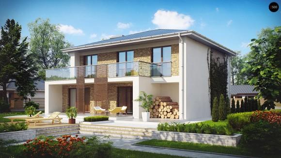 Проект двухэтажного дома из газосиликатных блоков с балконом Zx55