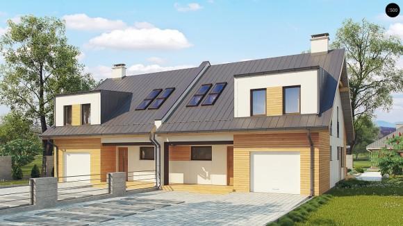 Проект двухблочного дома с гаражами