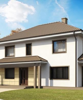 Проект двухэтажного дома с гаражом на две машины для узкого участка в Минске