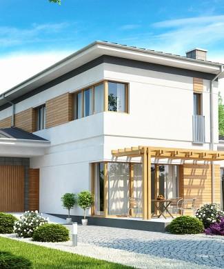 Проект загородного двухэтажного коттеджа с гаражом