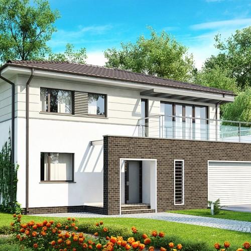 Проект двухэтажного дома с большим балконом и гаражом на две машины в Минске